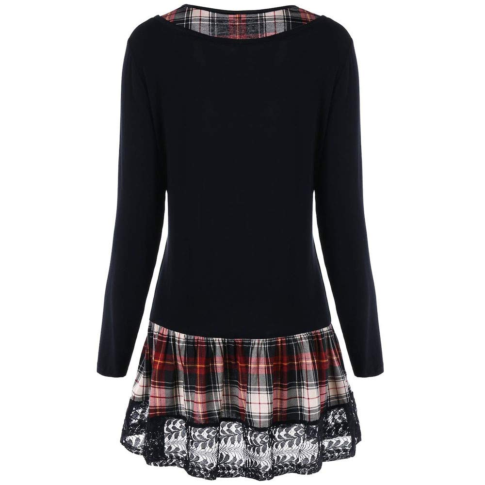 FEITONG Women Casual Lace Plaid Printing Patchwork Dress Long Sleeve Mini Dress