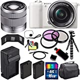Sony Alpha a5100 Mirrorless Digital Camera with 16-50mm Lens (White) + Sony SEL 1855 18-55mm Zoom Lens + 16GB Bundle 13 - International Version (No Warranty)