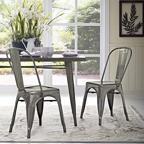 Modway Promenade Industrial Modern Aluminum Two Kitchen and Dining Room Chairs in Gunmetal
