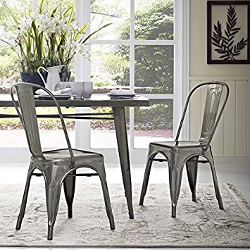 Pleasing Modway Promenade Industrial Modern Aluminum Two Kitchen And Dining Room Chairs In Gunmetal Unemploymentrelief Wooden Chair Designs For Living Room Unemploymentrelieforg