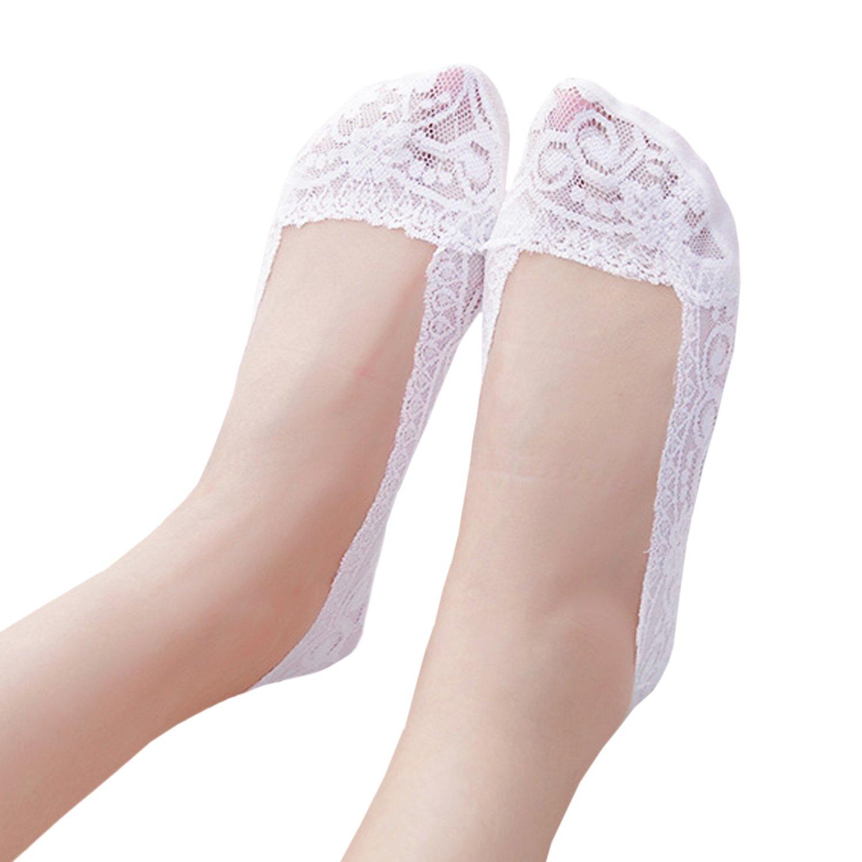 JHosiery Mujer antideslizantes footsies forro de zapato escotado invisible calcetines del barco (35-38, 3 pares mezclan sin plantilla acolchada)