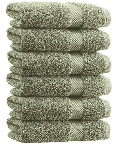 (White Classic Luxury Hand Towels - Soft Circlet Egyptian Cotton | Highly Absorbent Hotel spa Bathroom Towel Collection | 16x30 Inch | Set of 6 | Green)