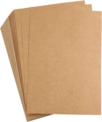 Liwut - Cartulina de papel kraft natural reciclado, A4, 120 g/m² ...