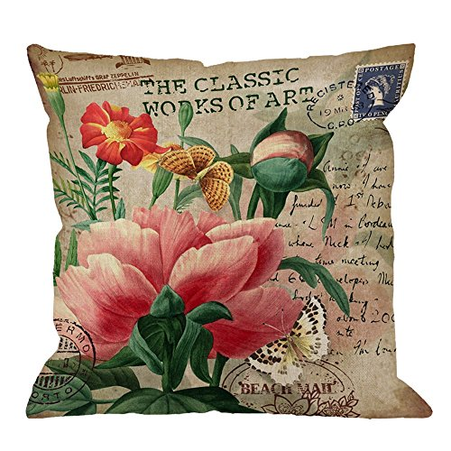 (HGOD DESIGNS Throw Pillow Cover Peony with Vintage Butterfly Stamp Retro Style Letter Pink Yellow Green Home Decorative Pillow Cases Cotton Linen Square Cushion Covers For Sofa Couch 18x18 Inch)