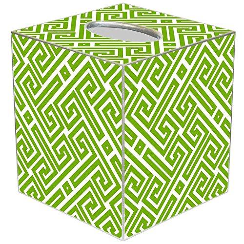 Marye-Kelley TB2678 - Lime & White Fret Pattern Tissue Box Cover