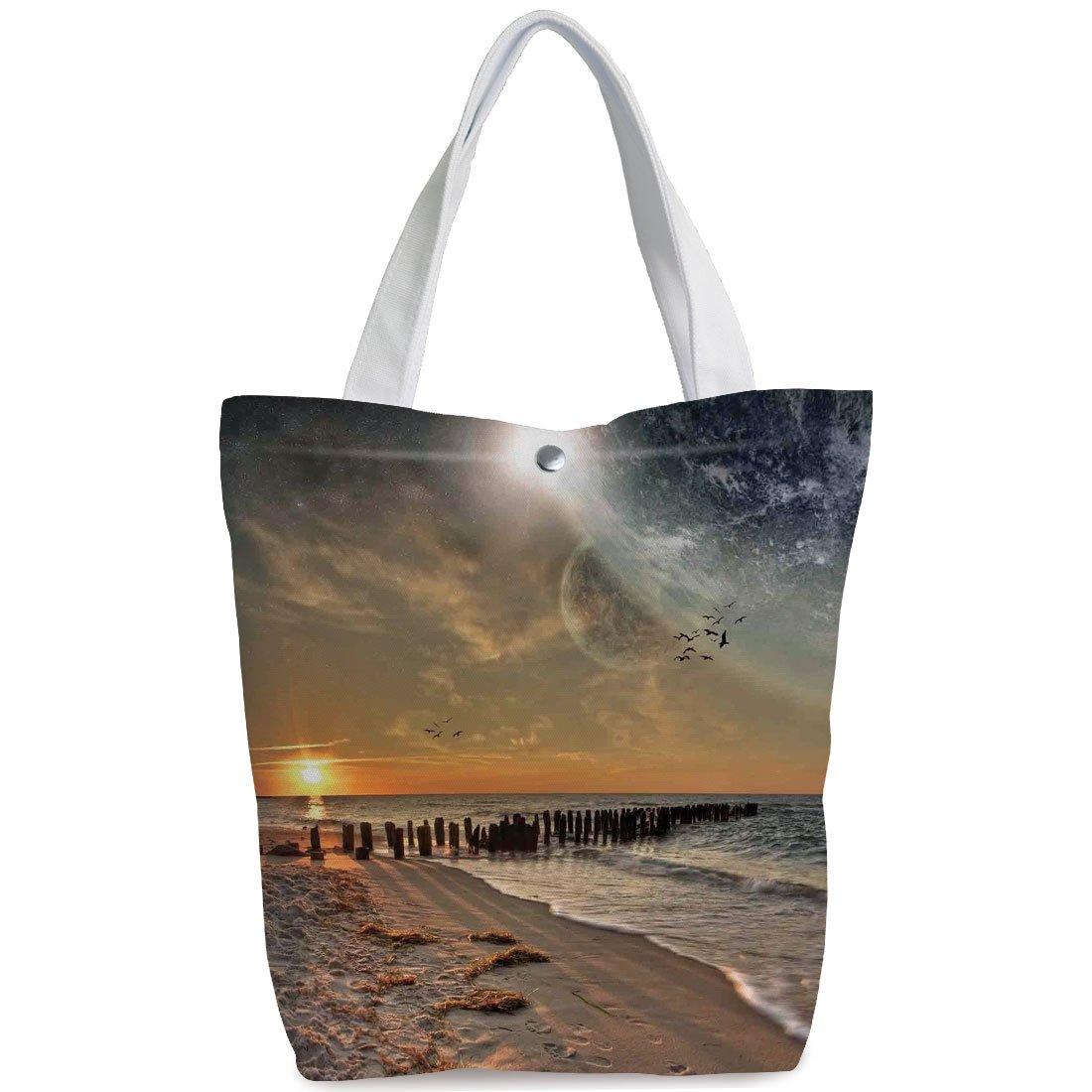 iPrint Canvas Shopping bag,shoulder handbags,Shoulder Bag,Space,Magical Solar Eclipse on Beach Ocean with Horizon Sun Moon Globe Gulls Flying View,Cream Orange,Fun Canvas Tote Bag