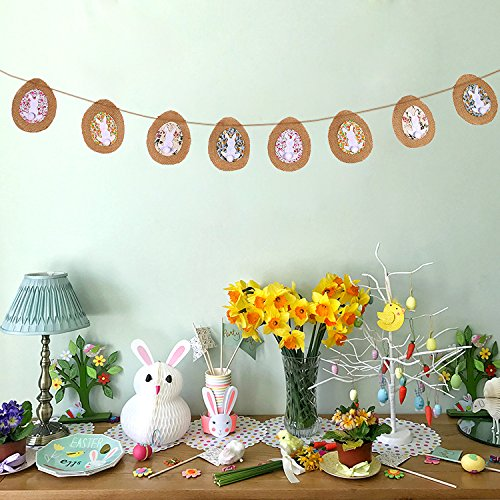 jollylife 4.5m Easter Eggs Bunny Banners Garland Flags Burlap Bunting for Party Decorations Ornaments J001I001B227