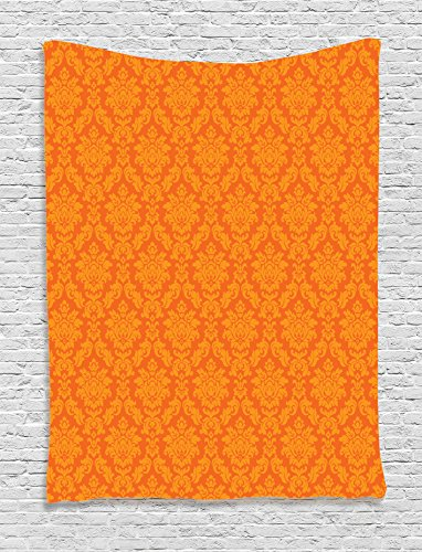 Ambesonne Burnt Orange Decor Collection, Classic Baroque Venetian Random Patterns with Antique Decorative Floral Leaves Home, Bedroom Living Room Dorm Wall Hanging Tapestry, Orange (Bold Stripe Wallpaper)