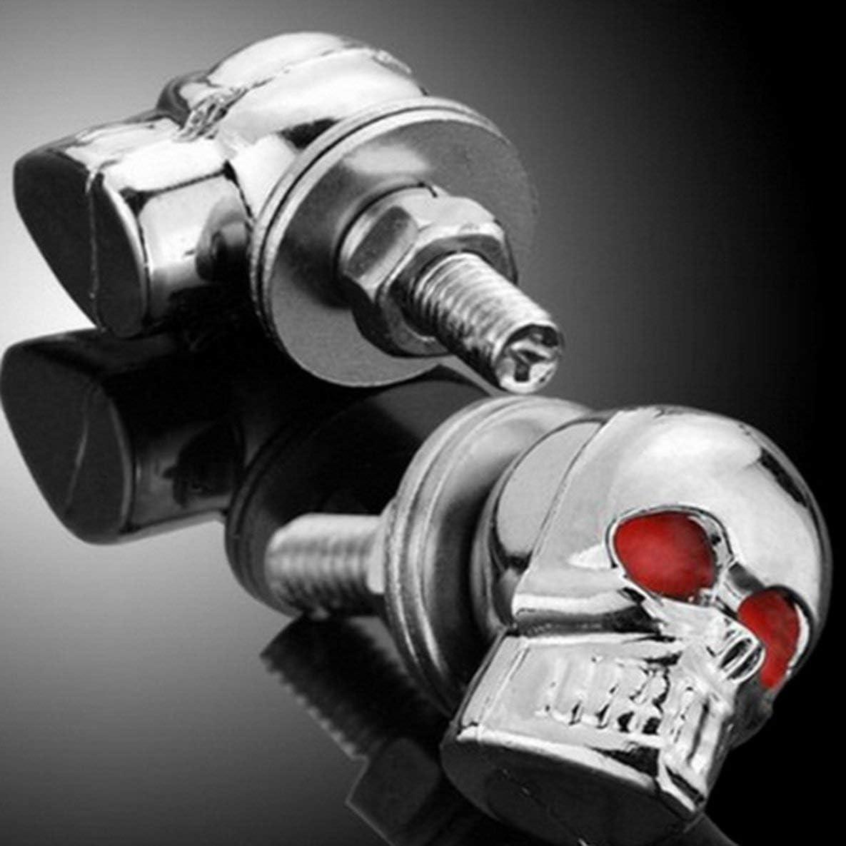 Un par//juego de accesorios para autom/óviles de motocicleta Decoraci/ón de calaveras Pernos de marco de matr/ícula Tornillo de fijaci/ón para motocicleta+Plata