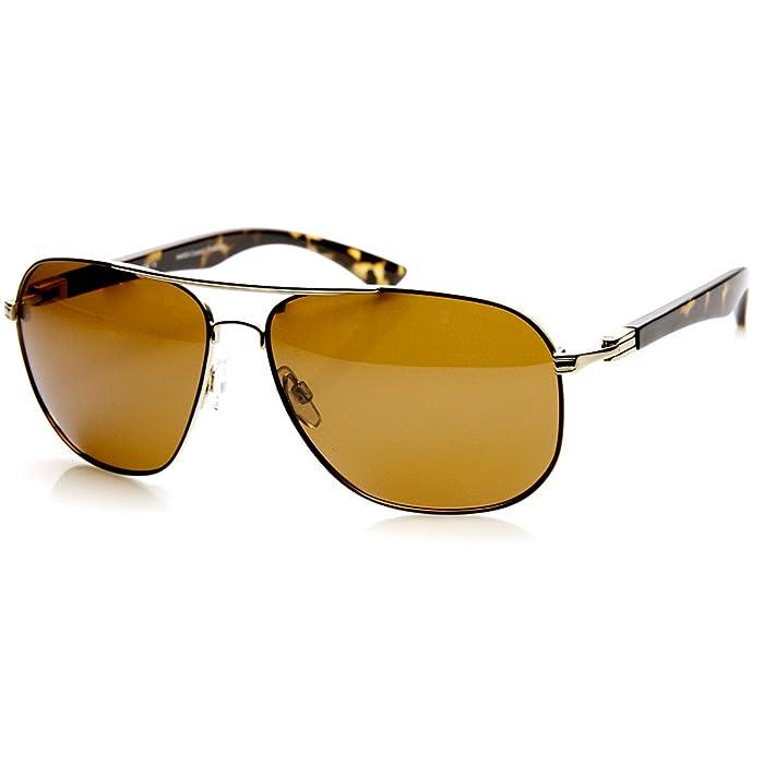 3b28f9f749 zeroUV - Polarized Contemporary Metal Aviator Sunglasses (Tortoise ...