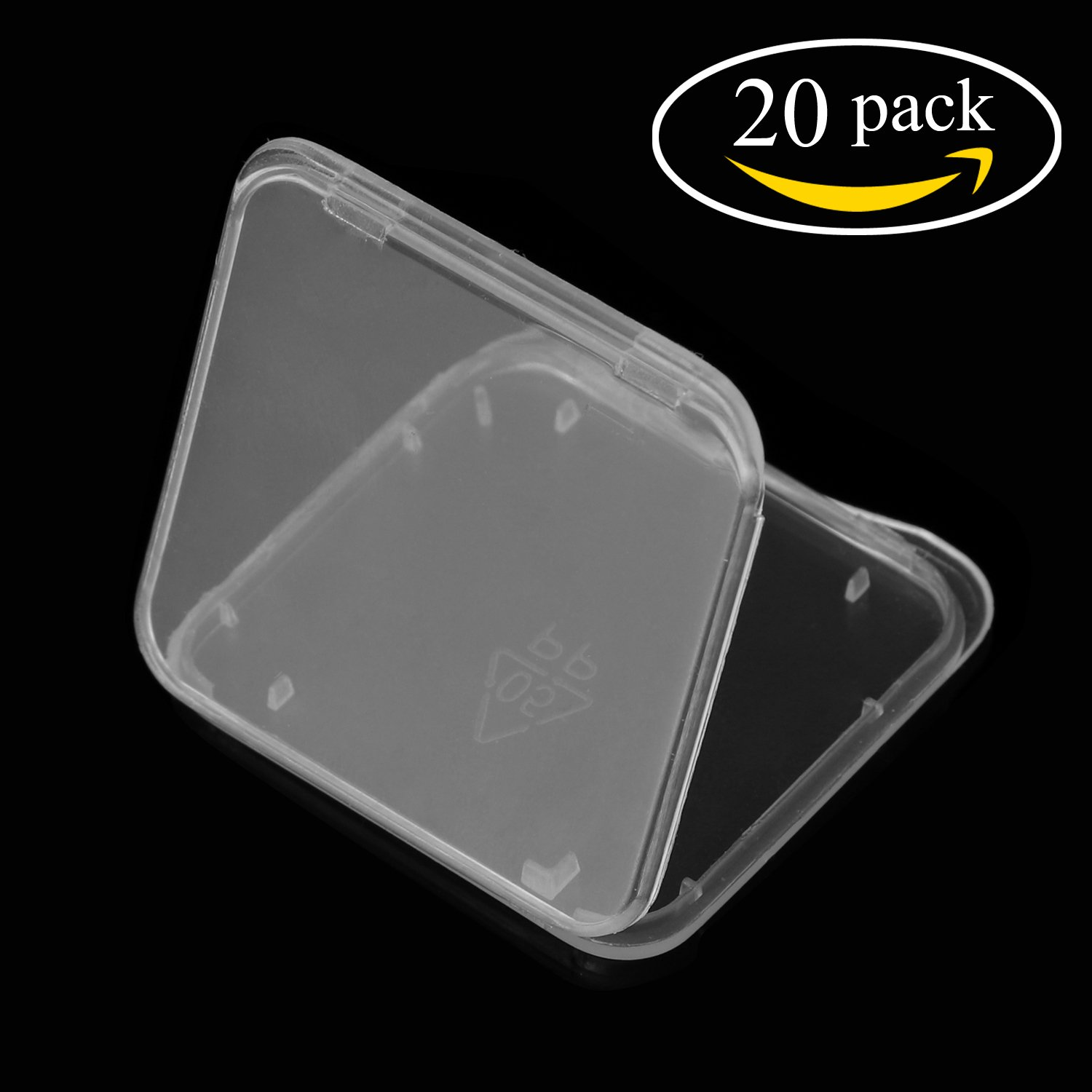WOVTE Plastic Secure Digital SD MMC SDHC PRO DUO Memory Card Storage Jewelery Case No Memory Card Included 1.375 x 1.375 x 0.25 Inch Transparent White Pack of 20