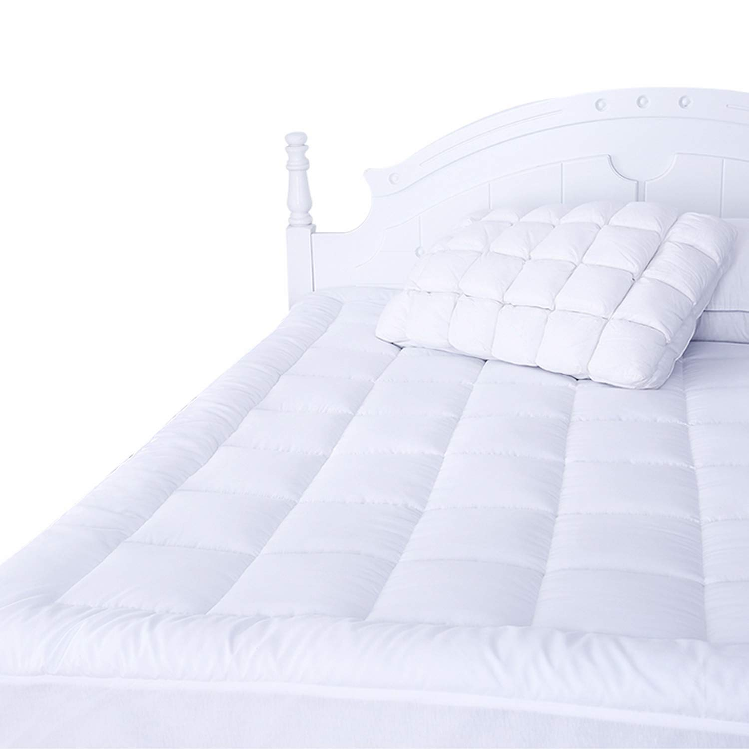 Naluka Mattress Pad Queen with Fitted Skirt Ultra Soft Premium Down Alternative Filled Pillowtop Luxury Mattress Topper