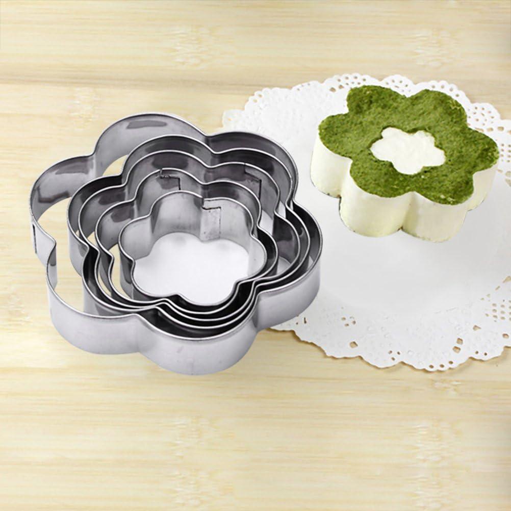 Yardwe 5 Piezas de Flores Cortador de Galletas de Acero Inoxidable Mousse Molde pasteler/ía Hornear moldes Herramientas Borde Acanalado