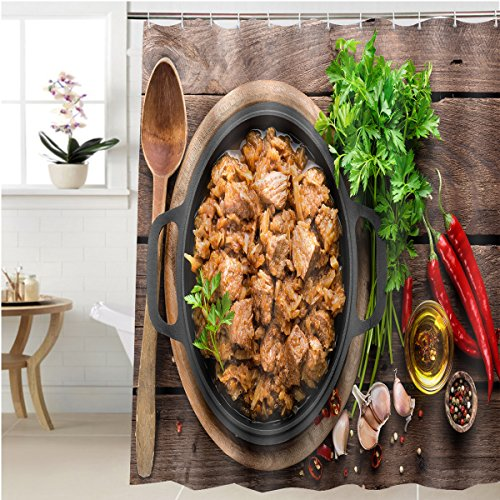 Gzhihine Shower curtain meat stew with cabbage Bathroom Accessories 69 x 72 inches (Meat Axe Flag)