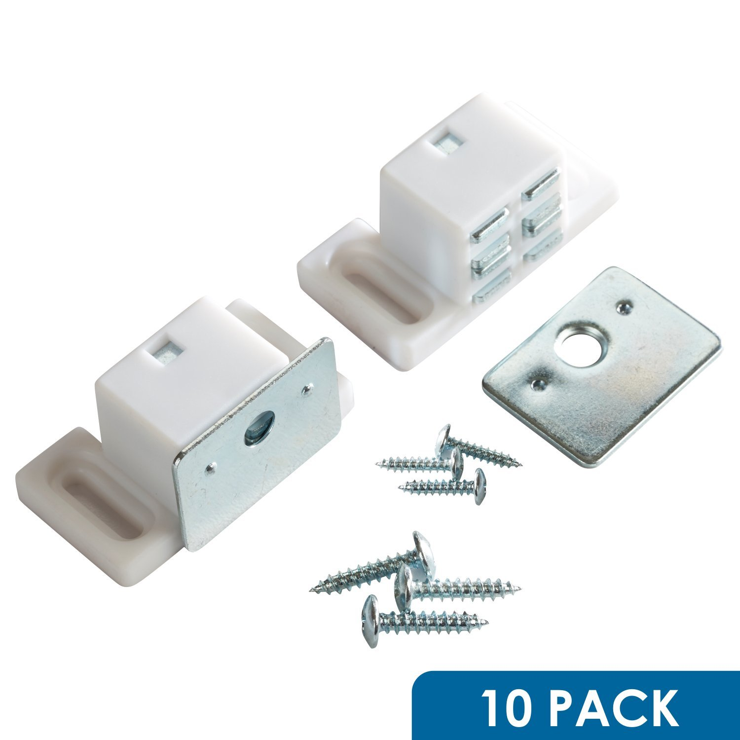 Rok Hardware Heavy Duty 15 lb High Magnetic Catch, White / Nickel, 10 Pack