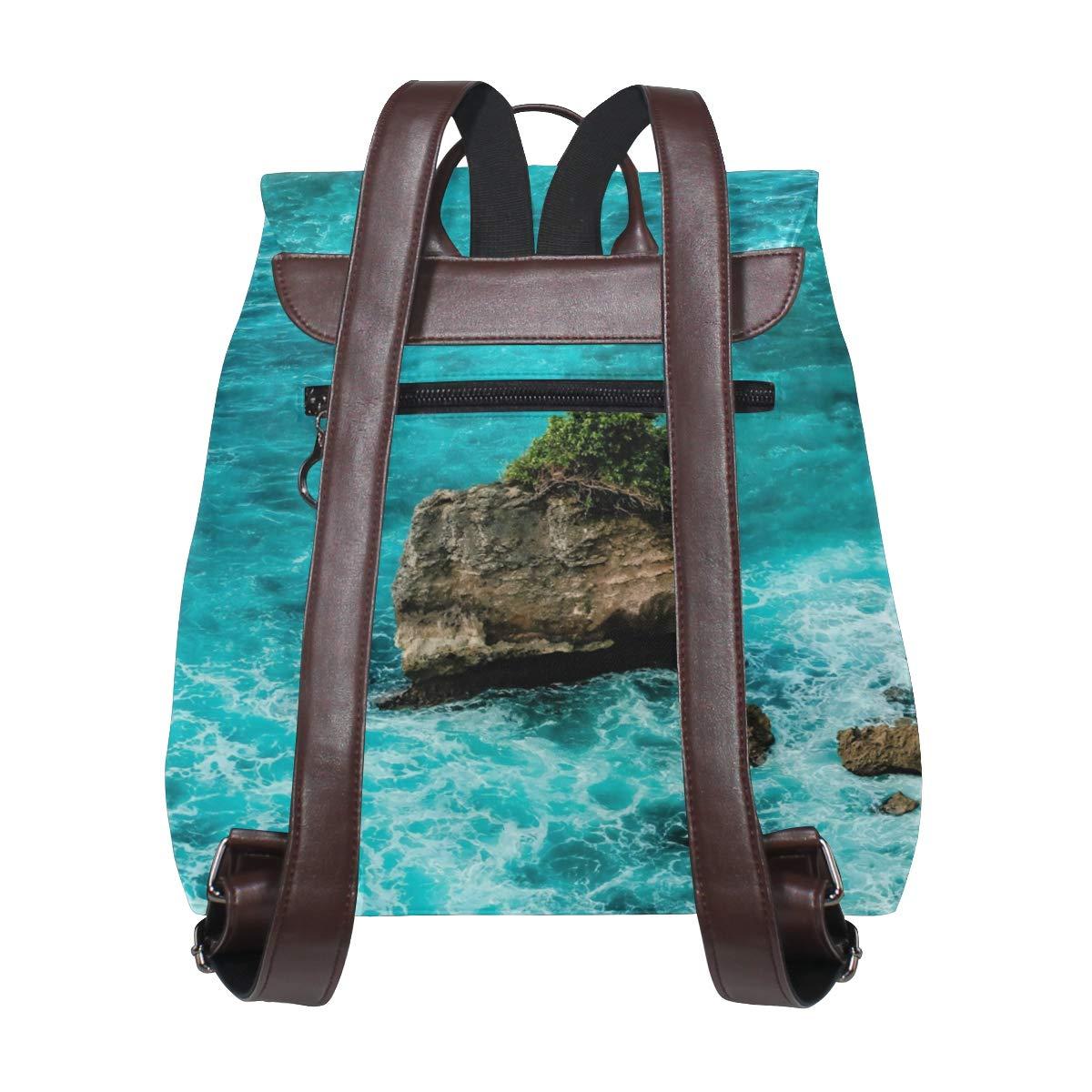 PU Leather Shoulder Bag,Bali Ocean Backpack,Portable Travel School Rucksack,Satchel with Top Handle