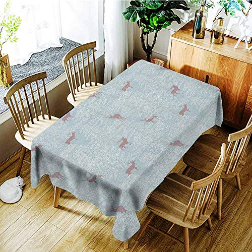 XXANS Outdoor Tablecloth Rectangular,Deer,Winter Forest Background with Reindeer Abstract Fir Tree Pattern Snowy Nature,Table Cover for Kitchen Dinning Tabletop Decoratio,W60x120L Bluegrey Dried Rose