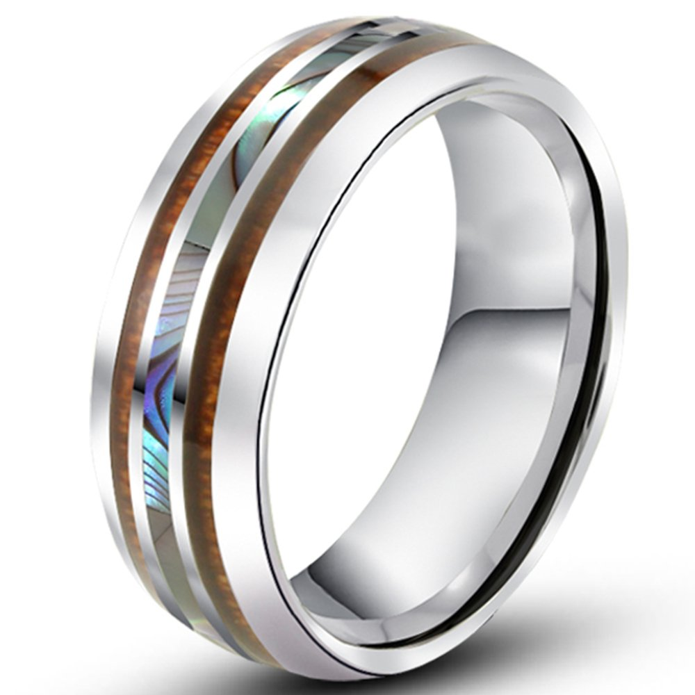 Men Women 8mm Tungsten Silver Vintage Wedding Engagement White Band with Shell Koa Wood Inlay Domed Ring Fashion Month