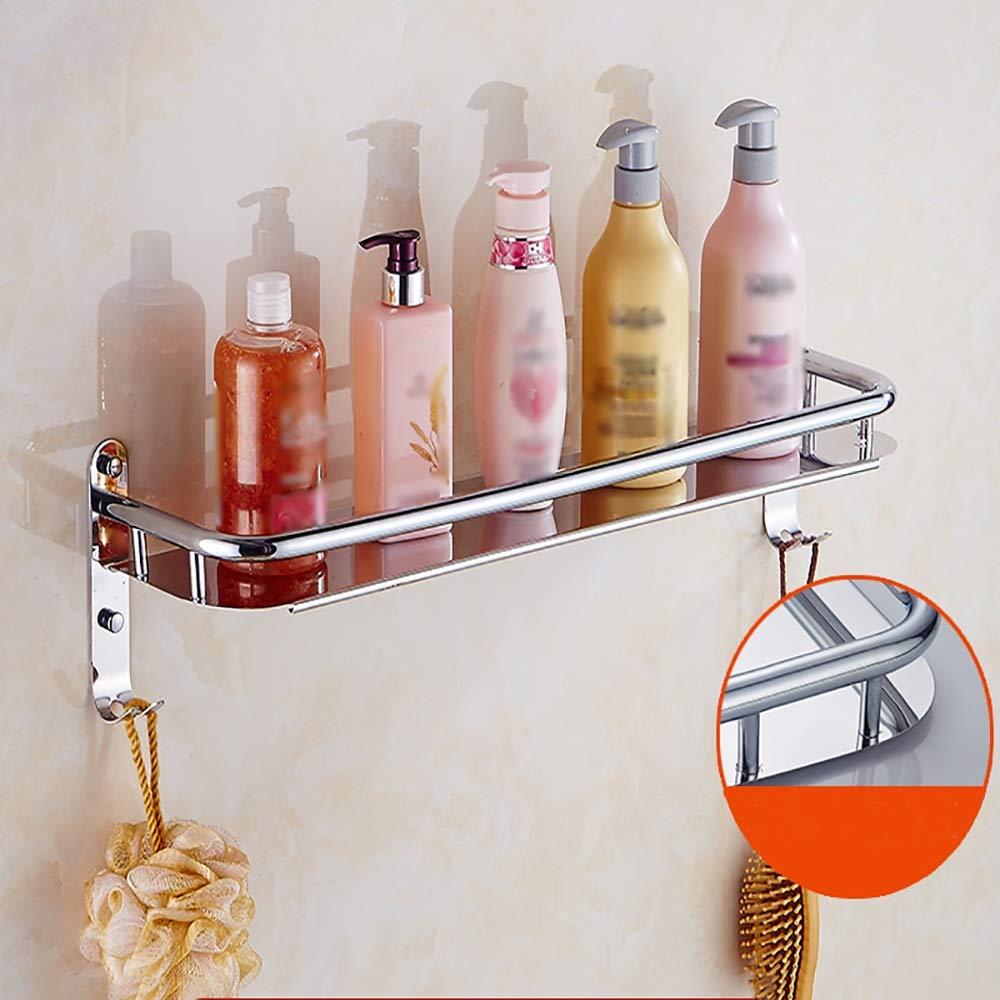 401216CM XSJJ Bathroom Shelf Stainless Steel Frame Mirror Storage Rack Wall-Mounted Storage Rack Corner Finishing Frame Optional Specifications Bathroom Glass Shelf (Size   40  12  16CM)