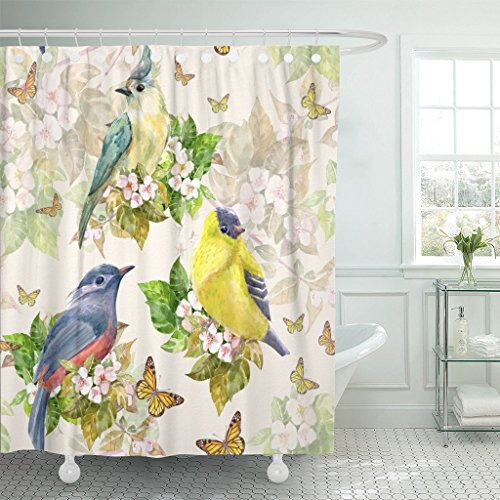 Emvency Shower Curtain Green Vintage Cute Birds on Apple Blossom Watercolor Painting Waterproof Polyester Fabric 72 x 78 Inches Set with Hooks