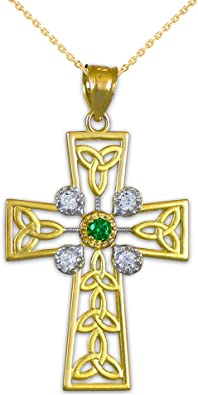Trinity Knot Claddagh Celtic Cross Pendant Necklace 14K Yellow Gold Over