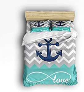 4 Pcs Bedding Set- Navy Blue Anchor Love Infinity Chevron Zig Zag Ripple Grey Turquoise Duvet Cover Set Ultra Soft and Easy Care Sheet Quilt Sets with Decorative Pillow Covers for Kids Adults- King