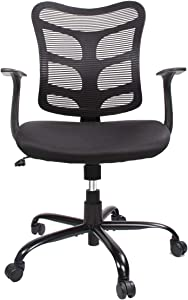 Office Chair, Mid Back Mesh Executive Chair with Lumbar Support Ergonomic Adjustable Seat Height Swivel Home Office Desk Chair, Task Computer Chair, Black