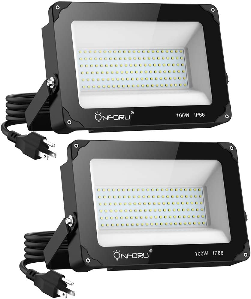 Onforu 2 Pack 100W LED Flood Light with Plug, 10000lm 5000K Daylight White, IP66 Waterproof Super Bright Security Lights, Outdoor Floodlight for Yard, Garden, Playground, Basketball Court