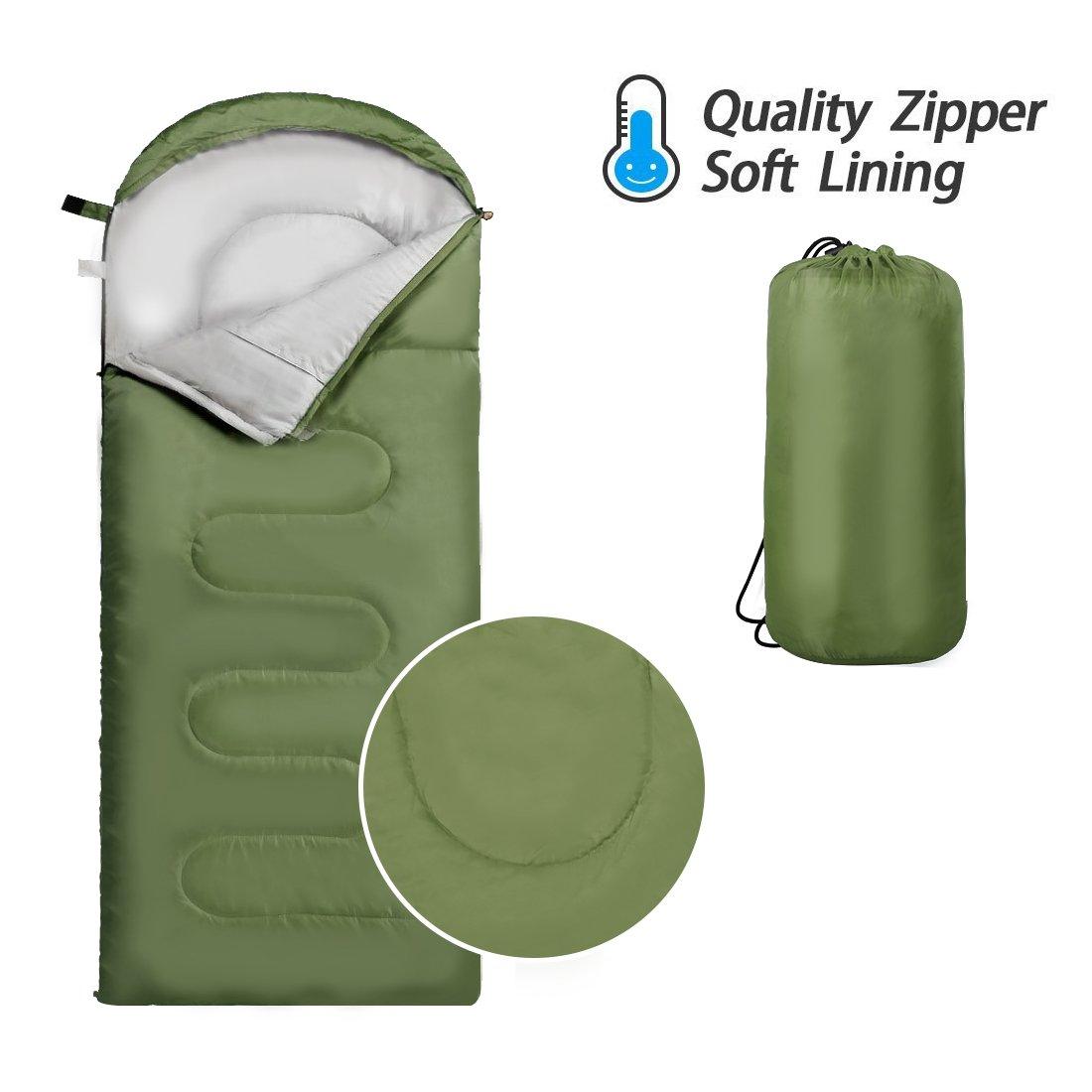 Saco de Dormir Tipo Momia 3 estaciones.180cm x 75 cm, Portable y Impermeable Saco de Dormir para Camping, Viajes, Senderismo y Otras Actividades al Aire Libre CUNXIA
