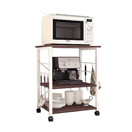 soges 3-Livello Microonde Macchinetta Supporto Stazione di Lavoro Cucina Armadio per la Conservazione Mensola della Cucina Carrello di Servizio W4-MP-N Contenitori e barattoli