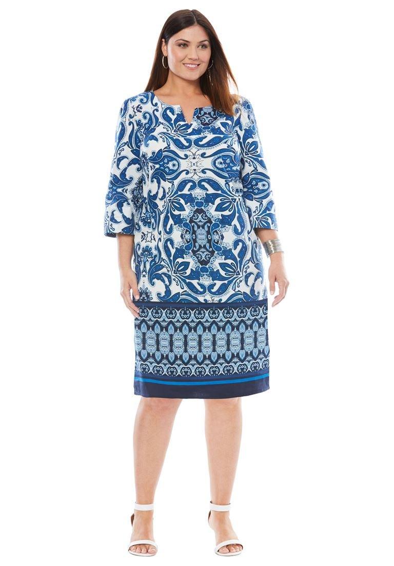 Jessica London Women's Plus Size A-Line Dress Bright Cobalt Batik Border,14 W