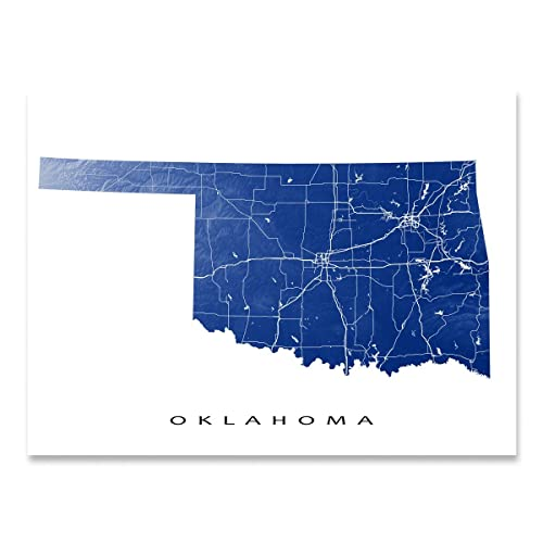 Amazon.com: Oklahoma Map Print, OK State Art, USA, Tulsa: Handmade
