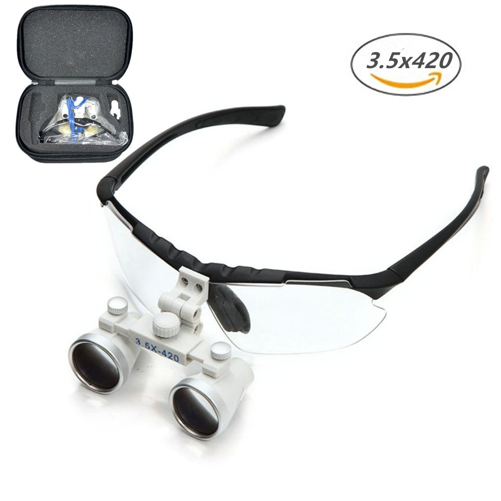 Dentist Black Dental Surgical Medical Binocular Loupes 3.5X 420mm Optical Glass Loupe with Black Carry Bag