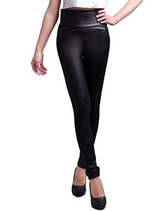 717b5c22e974b HDE Women's Faux Leather Leggings High Waisted Matte Slimming Trousers