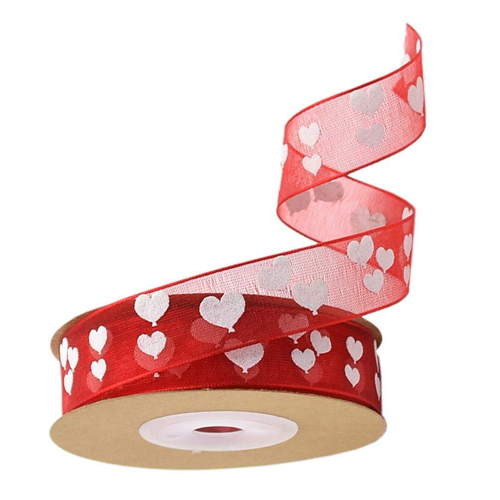 Patr/ón 1 Minkissy 1 Rollo de 10M Cintas de Regalo para El D/ía de San Valent/ín Cinta Impresa en Coraz/ón para La Boda Envoltura de Regalos para El D/ía de San Valent/ín Manualidades Diy