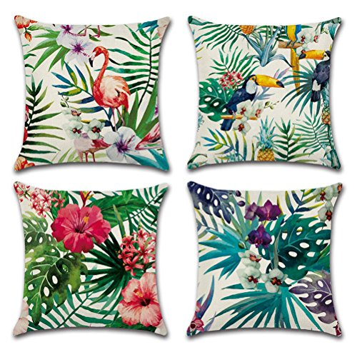Home Decorative Throw Pillow Covers U-LOVE Flamingo Pattern&Tropical Flower Leaves Cotton Linen Cushion Covers 18 X 18 Inch ,4 pack (Flamingo-1) (Tropical Flowers)