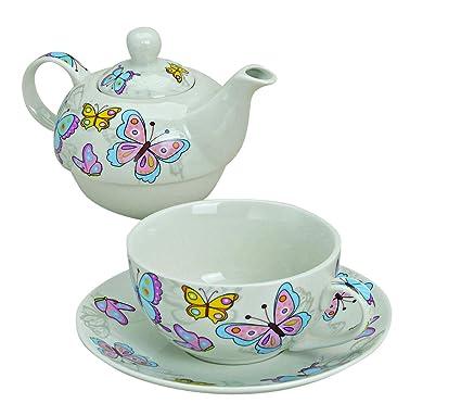 Wurm Set Da Tè In Porcellana Con Motivo A Farfalle Blu Su Sfondo
