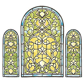 Wallies Stained Glass Wallpaper Mural Wall Decor Stickers - Stained glass window stickers amazon