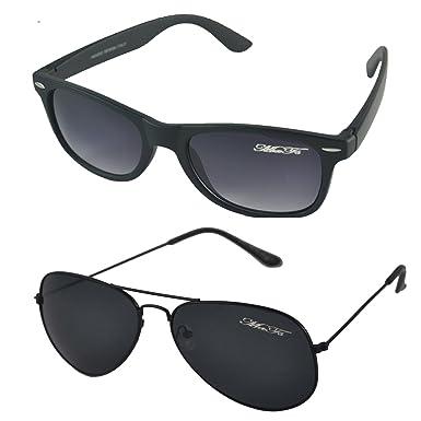 Mafs Combo Pack of 2 Classic Black Aviator Wayfarer Unisex Sunglasses (Dsc 066 752e0f8a70c08