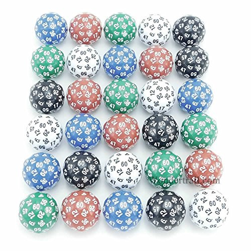 D60 5 Different Colors With Numbers 35mm (1.37in) Set of 30 Dice Koplow Games by Koplow Games