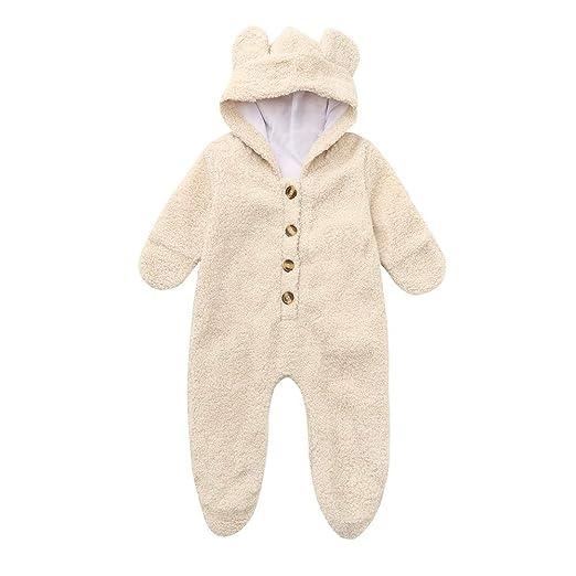 5326ceb3bfc1b Amazon.com  FORESTIME Newborn Baby Boys Girls Cute Pajamas Fur Hoodie Winter  Warm Bear Coat Jacket Cute Thick Sleepwear Clothes  Clothing