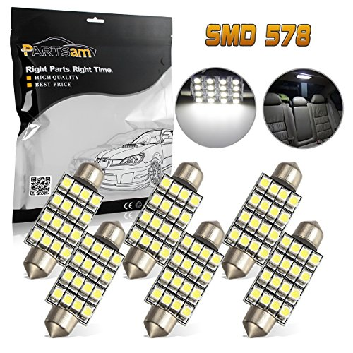 Omni Switch Directional (Partsam 6pcs 42mm Festoon LED Light Bulbs Error Free LED Interior Lights Dome Lights Bulbs 211-2 578 569 Festoon LED Bulb Compatible with 2005-2013 Ford Escape - White)
