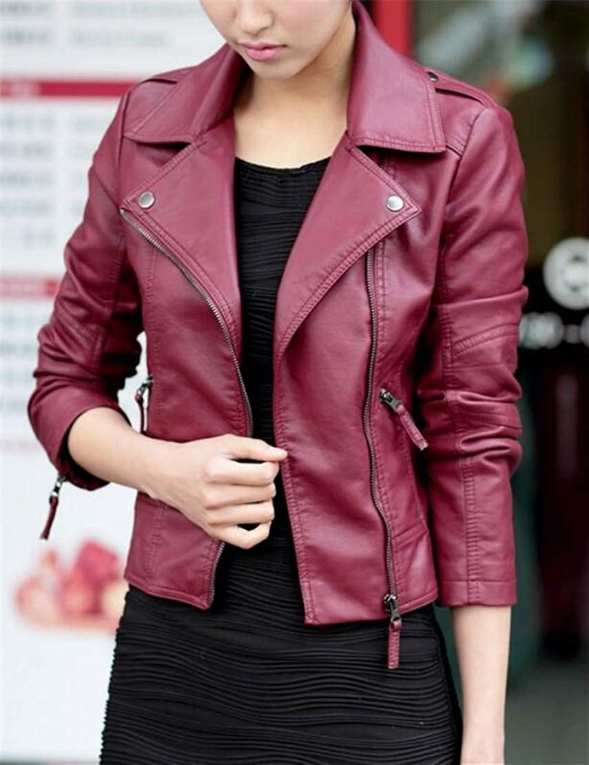 YYear Women Biker Moto Faux Leather Outwear Oblique Zipper Jackets Coats Wine red XL