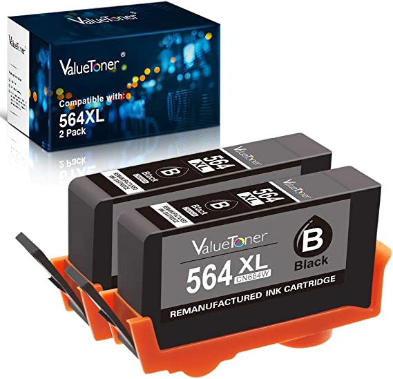 HOTCOLOR 4PK 564XL 564 XL Black CN684WN Remanufactured Ink Cartridges for HP Deskjet 3520 3521 3522 3526 HP Officejet 4610 4620 4622 Printer