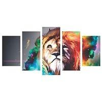 Quadro Leão Colorido Aquarela Decorativo Judá 160x80cm