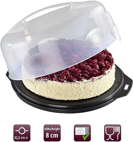 Xavax 00111514 - Recipiente para conservar y transportar tartas, Antracita/Transparente, Ø 31.5 cm: Amazon.es: Hogar