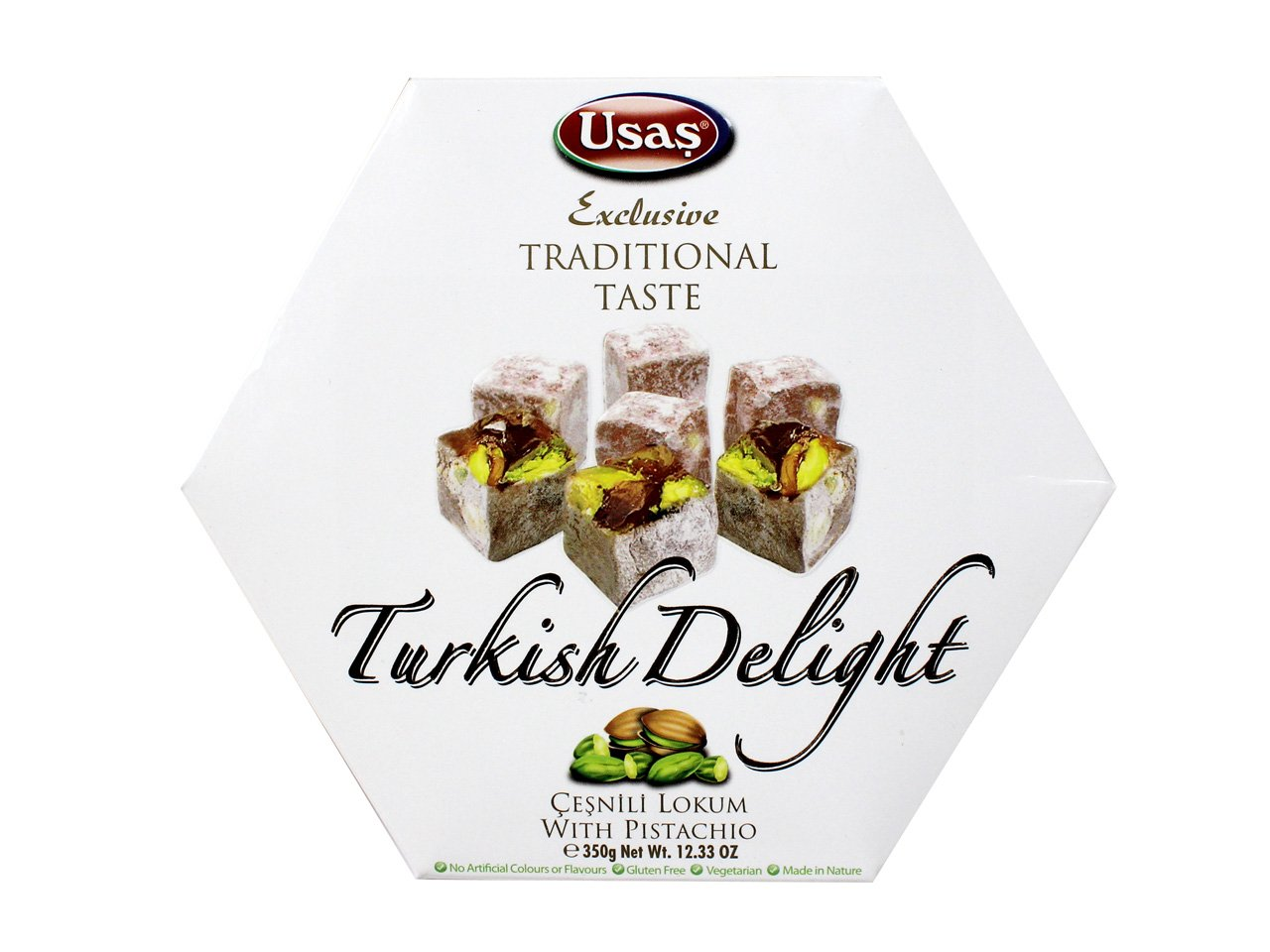 Usas Turkish Delight, Pistachio, 12.3 Ounce (Pack of 12)