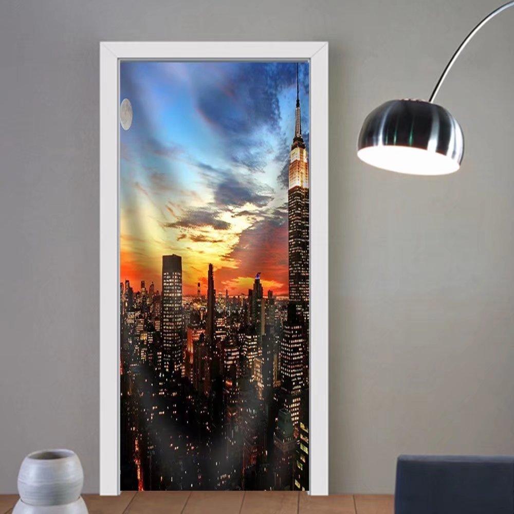 Niasjnfu Chen custom made 3d door stickers New York City Midtown Skyline at Dark Fabric Home Decor For Room Decor 30x79