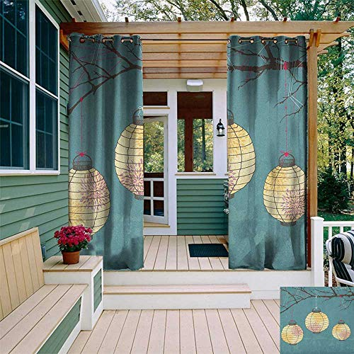 leinuoyi Lantern, Outdoor Curtain Set, Three Paper Lanterns Hanging on Branches Lighting Fixture Source Lamp Boho, for Patio W108 x L108 Inch Teal Pale Yellow