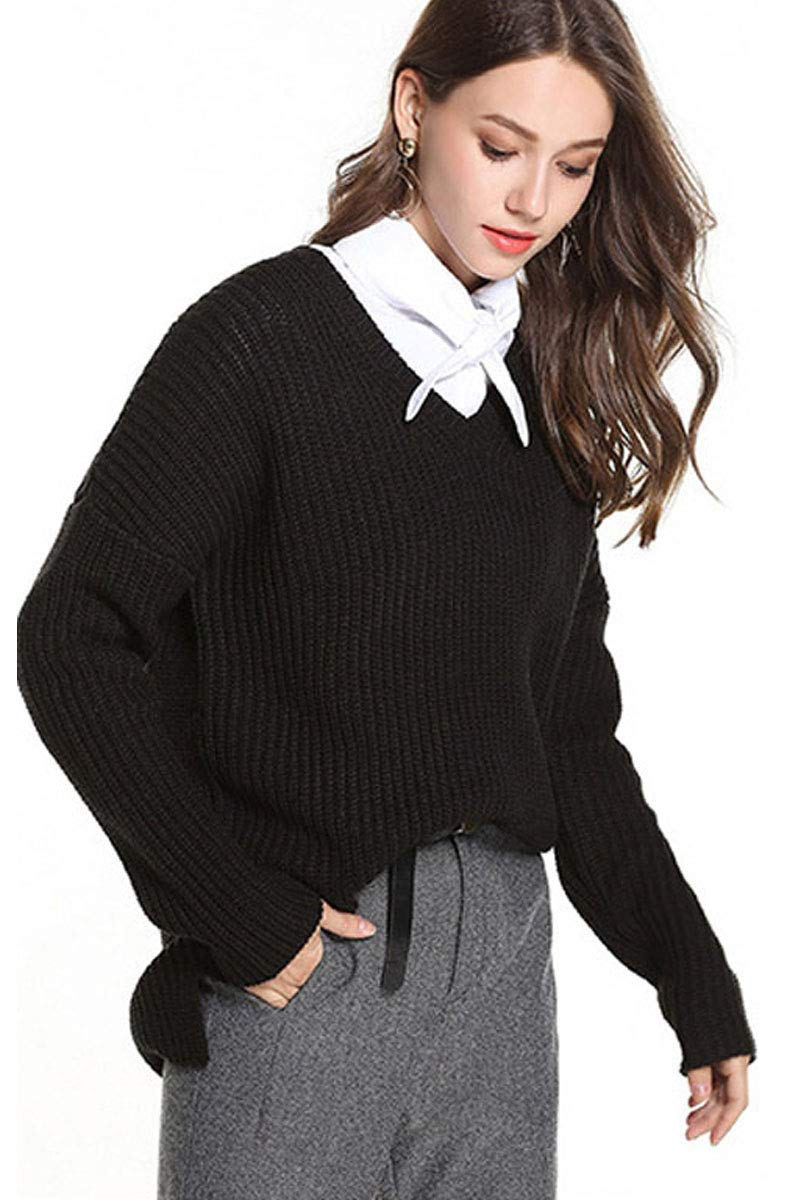 Womens Deep V Neck Knit Fashion Textured Loose Fit Baggy Fashion Solid Jersey Longline Sweater Tops Blouse Black S